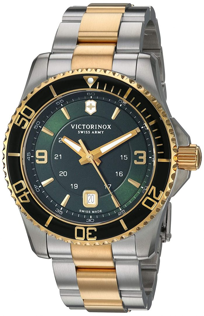 Victorinox Maverick Mens Quartz Date Wrist Watch Analog 43 mm Round Green Dial With Sapphire Crystal