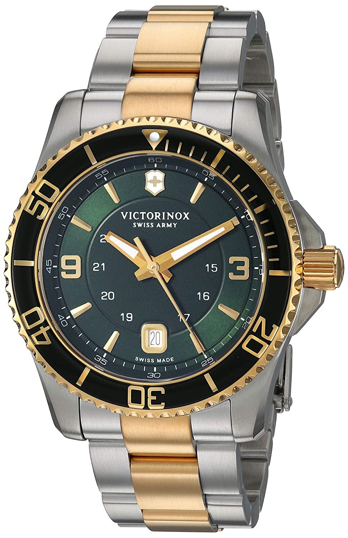 Victorinox Maverick Mens Quartz Date Wrist Watch Analog 43 mm Round Green Dial With Sapphire Crystal 1