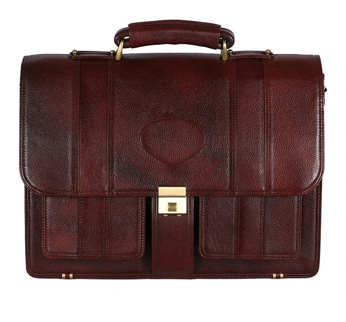 LV 100% Genuine Leather 17'' Laptop Men's Briefcase Bag