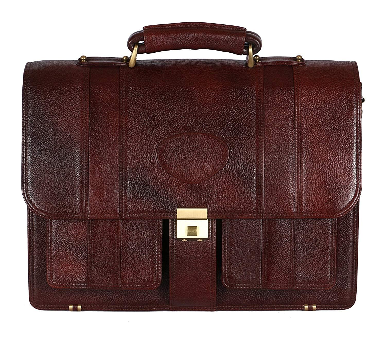 "LV 100% Genuine Leather 17"" Laptop Men's Briefcase Bag 2"